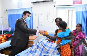Fruits were handed out to patients during the Republic Day celebrations.