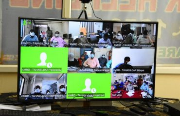 Video Conference on the Grain Purchasing Centers with the Mandal Officials.