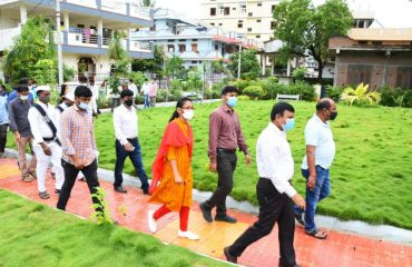 The District Collector inspected the plants planted town as part of the town Pattana Pragathi.