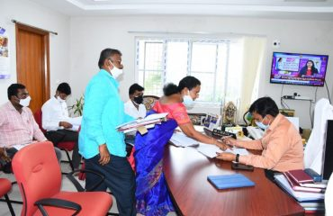 District Collector conducted a Review with the District Authorities on Free Electricity for Nai Brahmins and Rajaks In his Chamber.