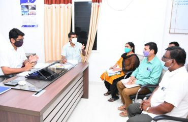 at presence of District Collector, the authorities held talks with the farmers on the compensation for those who lost their lands to lay the R&B road on the Nemli Village Route.