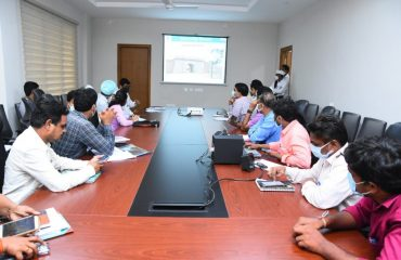 District Officials Briefed to the Central Team on the work undertaken under the Upadhi hami Scheme in the District through a Power Point Presentation in Conference Hall.