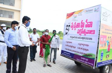 District Collector Jitesh V Patil,IAS launched the Campaign Chariot under the auspices of Swachh Bharat Mission, Kamareddy during the Swachhta Hee Seva Pakshotsava at Integrated District Offices Complex, Kamareddy.