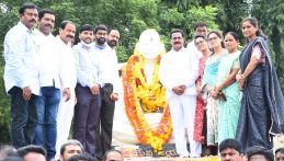 Government whip Gampa Govardhan Unveiled a Statue of Mahatma Gandhi on the occasion of Gandhi Jayanthi at Ganji Market in Kamareddy Town.