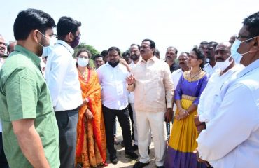 Government Whip Gampa Govardhan and District Collector Jitesh V Patil,IAS inspected the site for the construction of a Medical College Building at Dairy College in Kamareddy District Center.