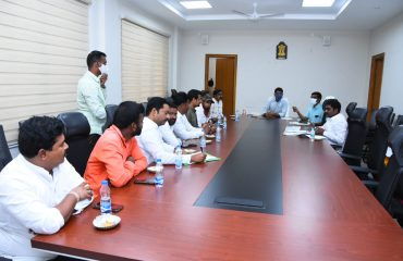 The District Collector hold a meeting with the leaders of various political parties in the integrated district offices complex