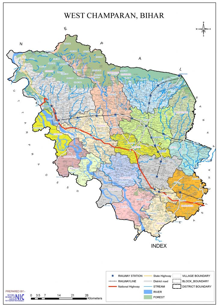 West Champaran-Map