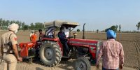 Hon'ble Deputy Commissioner conducts direct paddy sowing trial by driving tractor to motivate farmers