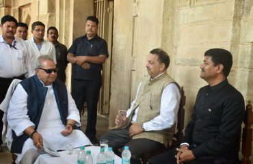 H.E Governor of Bihar in a discussion with the DM and other dignitaries