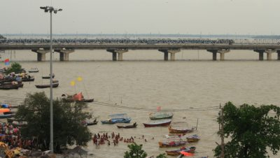 The River Yamuna at its peak during floods