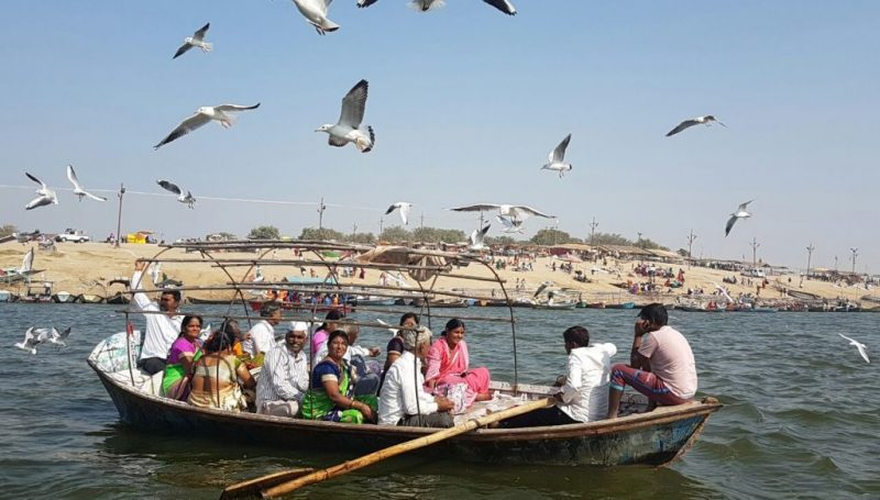 The Devotees proceeding to the Sangam for prayers