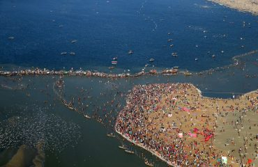The Pilgrims taking dip in the holy water of River Ganga