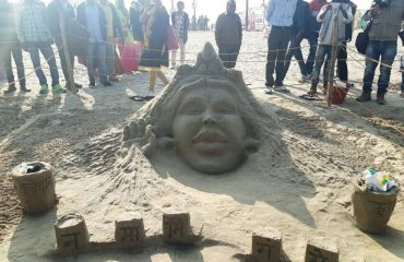 The Sand art at the banks of Ganga for Namami Gange