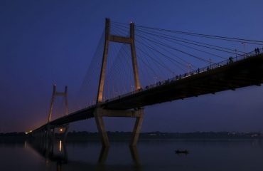 The View of the New Yamuna Bridge in the evening