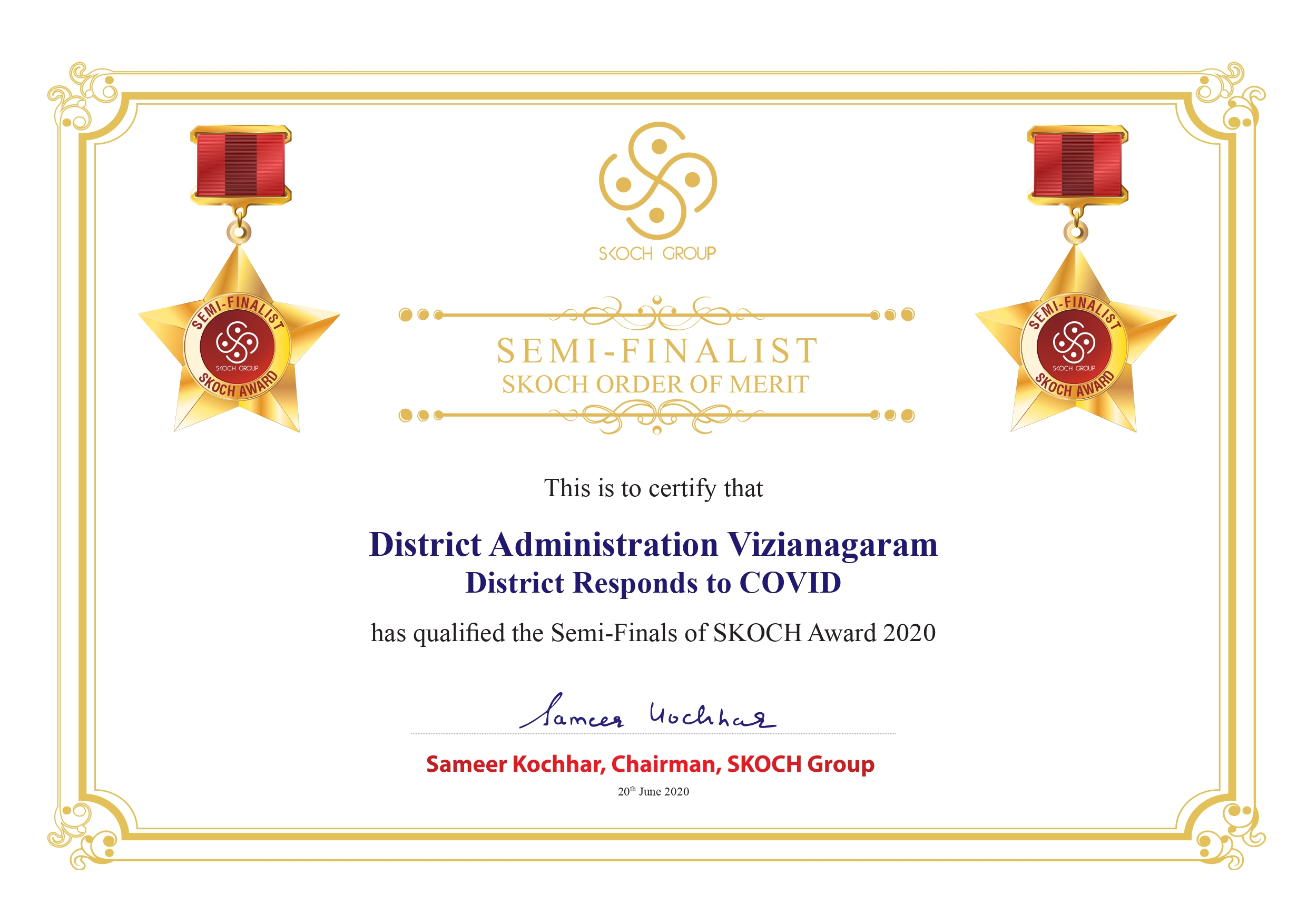 District Selected SKOCH AWARD for District Administration Responds to COVID