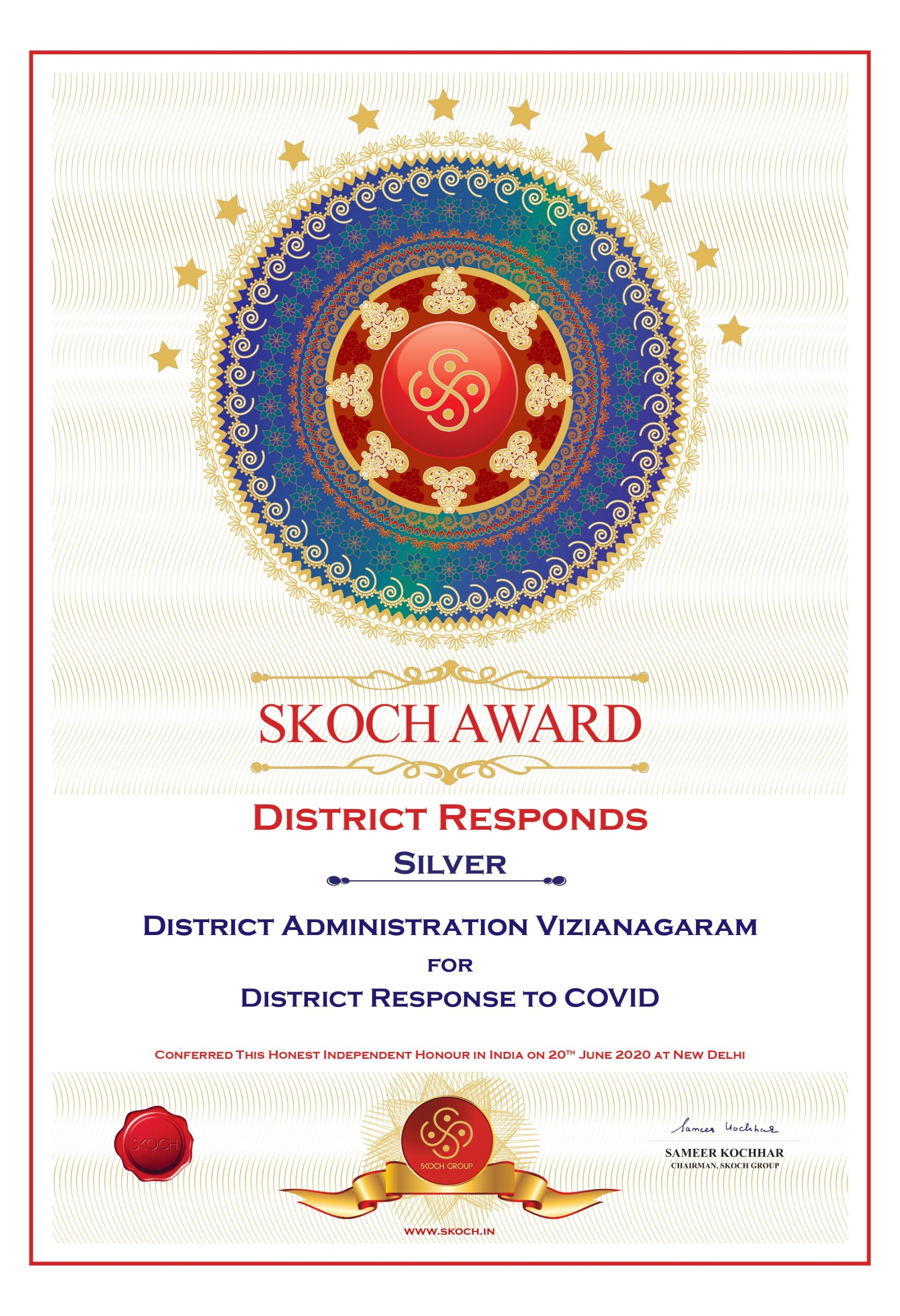 District Selected SKOCH AWARD for District Responds to COVID