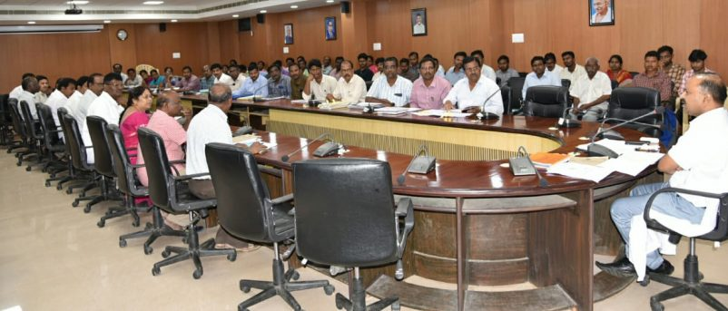 District Collector Review with Housing and Irrigation Officers on 20.07.2018