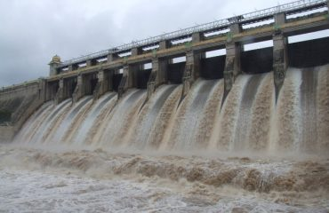 Amaravathi Dam - Water released from all cuns.
