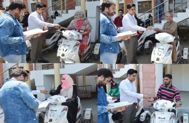 Bikes being distributed to people