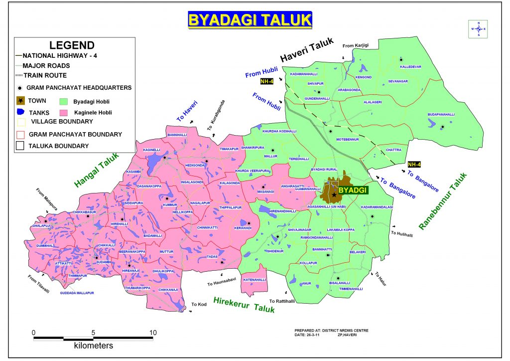 Byadgi Taluka Map