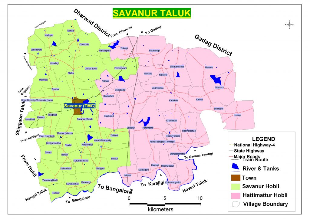 Savanur Taluka Map