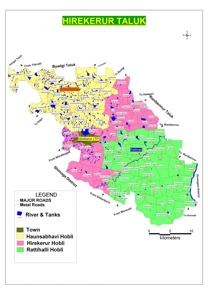 Hirekerur Taluka Map