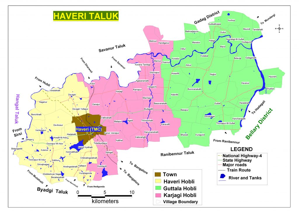 Haveri Taluka Map