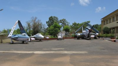 Decommissioned planes on display