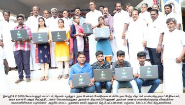 Hon'ble Minister for Municipal Administration, Rural Development and Implementation of Special Programme Thiru S.P. Velumani distributed free Laptop to School students