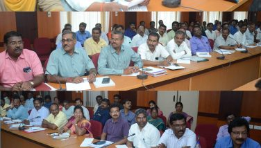 District Election Officer cum District Collector Thiru. K.Rajamani I.A.S. conducted Parliament Election Model Code of Conduct meeting on 11/03/2019 at Collectorate Building. District Revenue Officer Thiru. D.Ramaduraimurugan and other District officials attended the meeting.