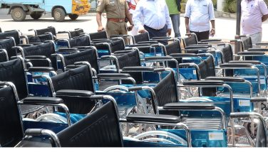 Distribution of Wheel Chair for the Differently abled persons for voting in the Lok Sabha General Election inspected by the District Election Officer and District Collector Thiru. K.Rajamani I.A.S. at the Collectorate Building