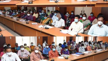 Ungal Thoguthiyil Muthalamaichar Scheme petitions review meeting conducted by District Collector Dr.G.S. Sameeran I.A.S. at Collectorate building on 18.06.2021 with all Department Officials