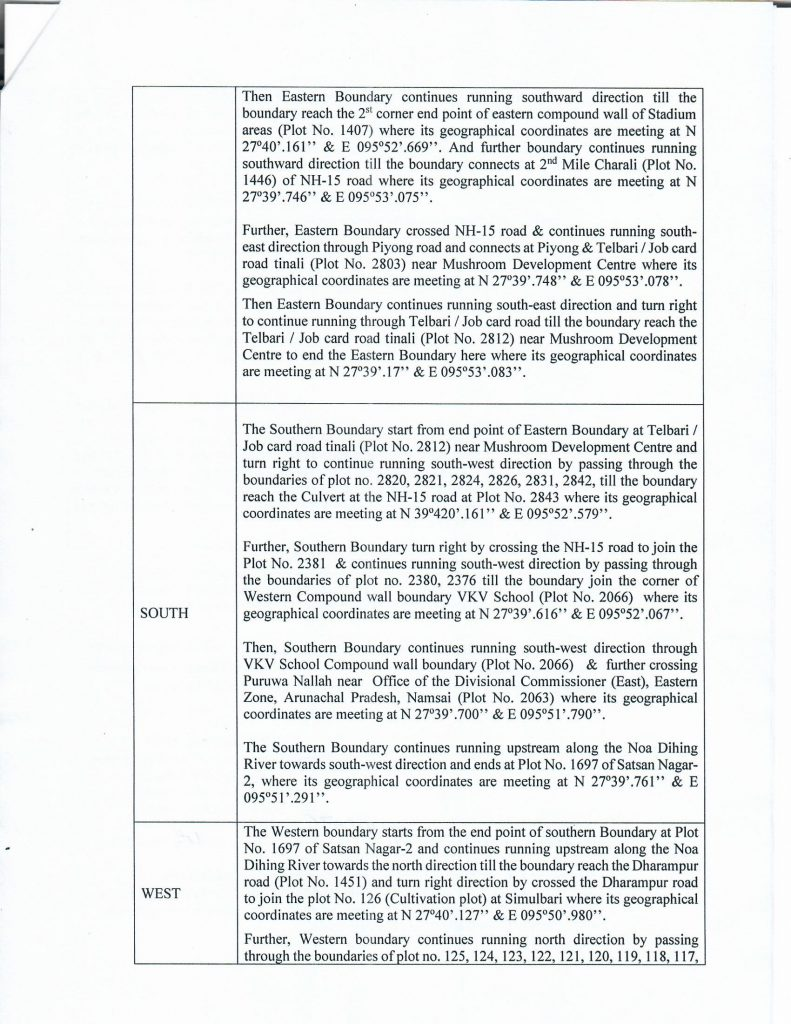 Public Notice: Demarcation of Municipal Area Boundary of Namsai town for the purpose to constitute Namsai Municipality under provision of section 4(1) of Arunachal Pradesh Municipal Act, 2007 (Act No. 4 of 2008).