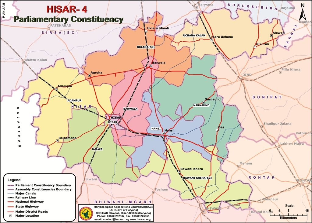 Parliamentary Constituency Hisar Map
