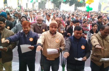 In this image you can see Oath taking by officials in Election Voters day