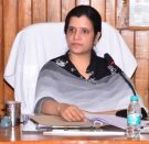 In this image DM bahraich Mrs Mala Srivastava is seated on the chair