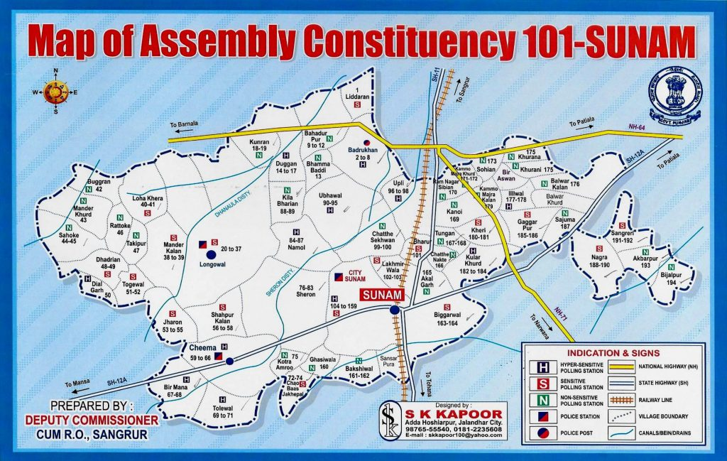 101-Sunam Assembly Constituency Map
