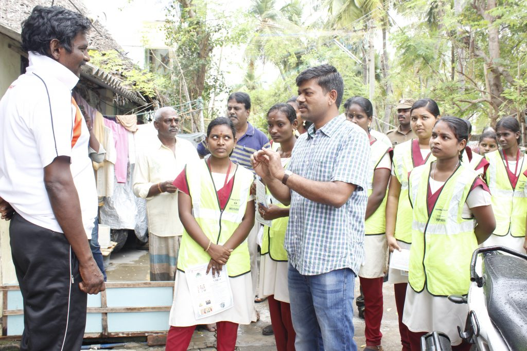 Door to Door canvassing by the Distict Collector and explains to deliver the waste by separaing Organic and In-organic Wastes.