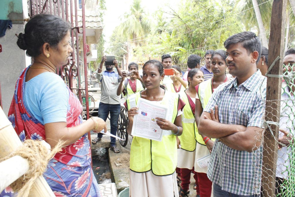 The District Collector Mr.R.Kesavan IAS observes the query from the public while Cleanliness awareness campaign.