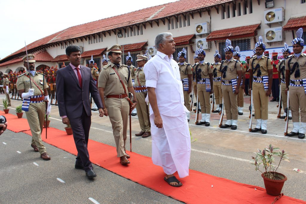 The Indian National Flag is hosted by the Agriculture Minister Sh.R.Kamalakannan is celebrated at Beach Road, Karaikal