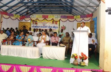 Hon'ble Social Welfare Minister Mr.Kandasamy delivers the speach on the occasion Internation Women Day-2018