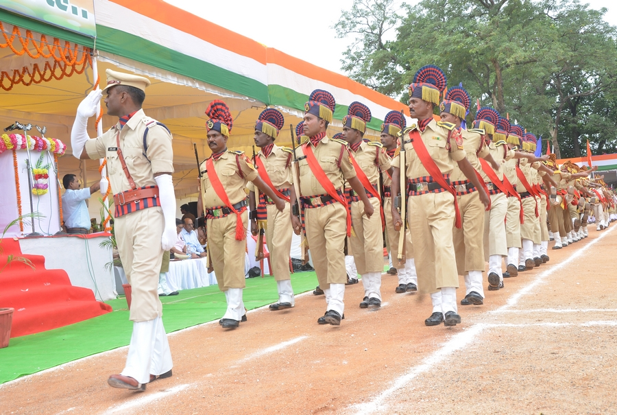 District police force march past on Independence Day