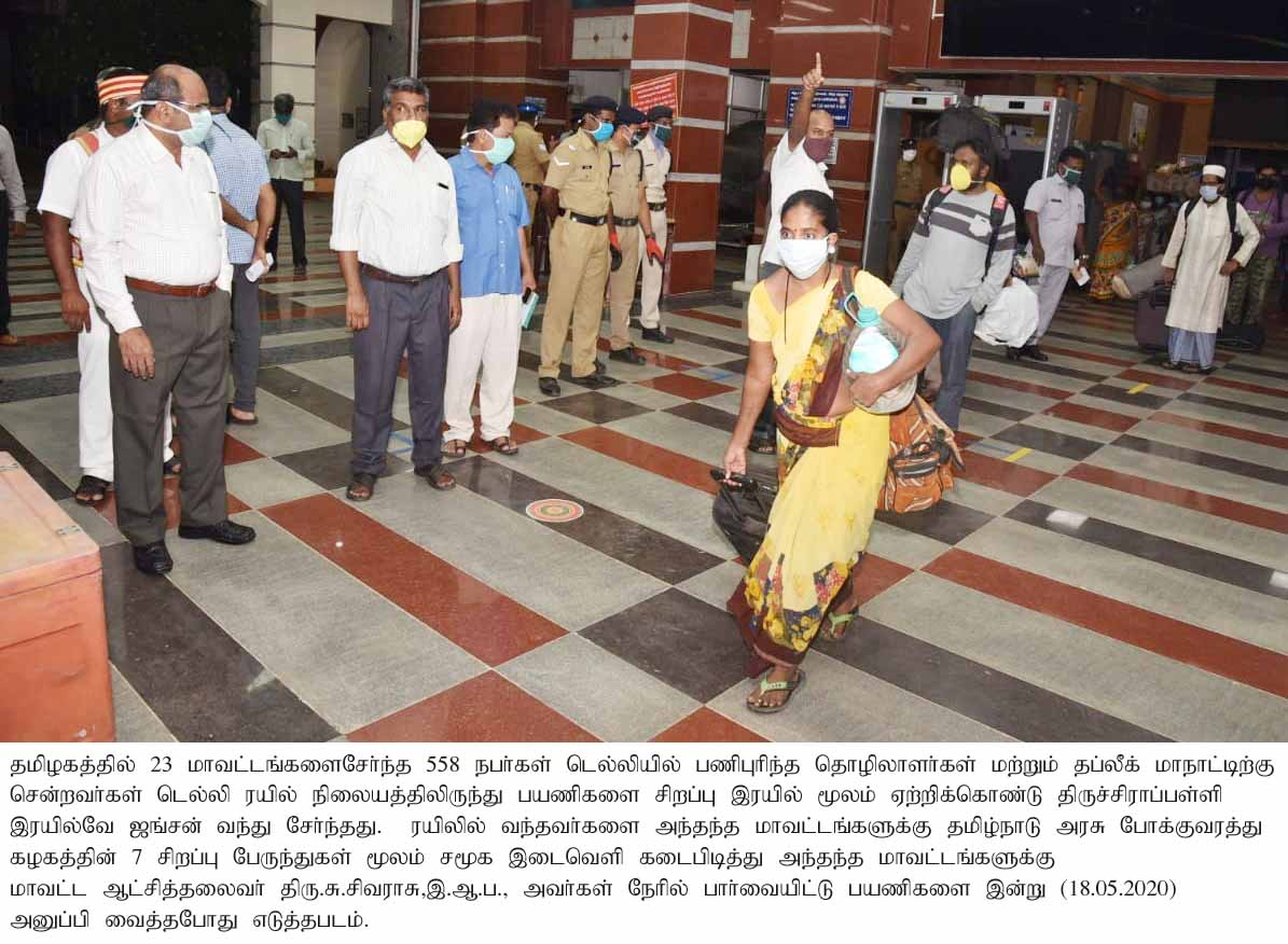 District collector Inspected the transport of migrant workers arrived from Delhi to the respective Districts on 18-05-2020