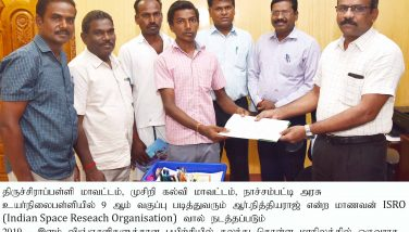 District Collector appreciated the Student Selected for the selection of ISRO-Young Scientist 2019 Training Programme