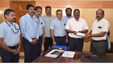Airport Director Handed over the CSR contribution Cheque to District Collector