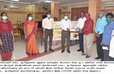 Gramalya volunteer Organization handed over the Covid-19 Response Hygiene Kits to District Collector on 21-09-2020