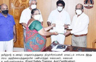 District Collector Provided Certificates to Chef and Cookings Assistant working in the Department of Hindu Religious Affairs on 20-07-21