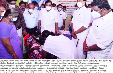 Hon'ble Municipal Administration Minister and Hon'ble School Educational Minister started Vaccination camp for Children on 23-7-21