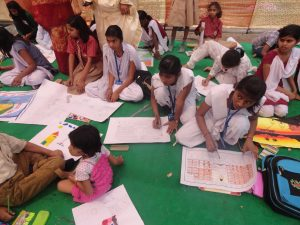 Kids participating in drawing competition