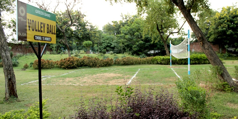 Volleyball court in the park premises.